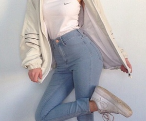debardeur, nike, and jeans taille haute image