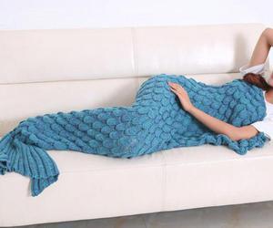 blanket, crochet, and mermaid image