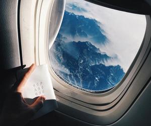 airplane, hiker, and sky image