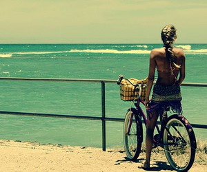 beach, fashion, and bicycle image