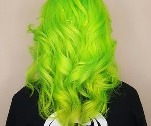 curls, green, and hair image