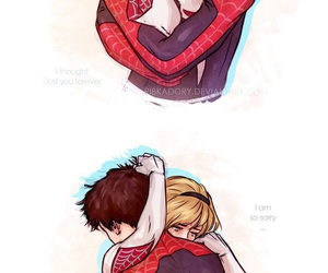 peter parker, gwen stacy, and spiderman image