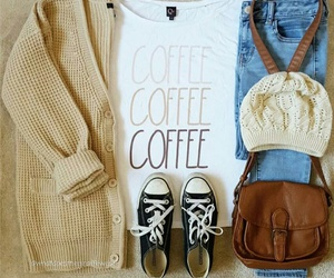 outfit, coffee, and jeans image