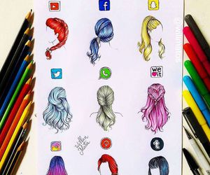 hair, art, and instagram image