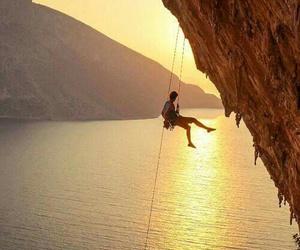 climbing and sunset image