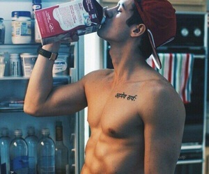 abs, bare, and drink image