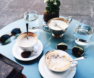 coffee, sunglasses, and cafe image