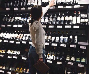 wine, girl, and alcohol image
