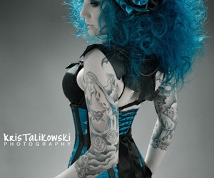 blue hair, tattoo, and blue image