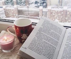 book, candle, and christmas image