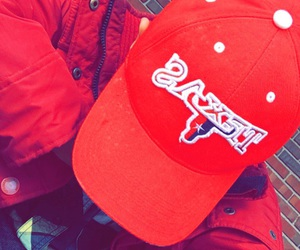 dope, red hat, and red jacket image