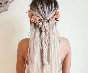 boho, fishtail, and hair image