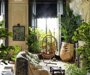green, plants, and interior image
