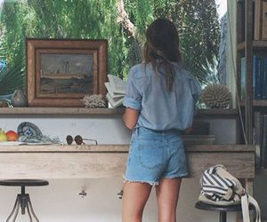 bag, denim shorts, and picture image