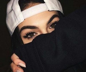 girl, eyes, and black image