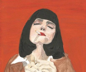 art, red, and cigarette image