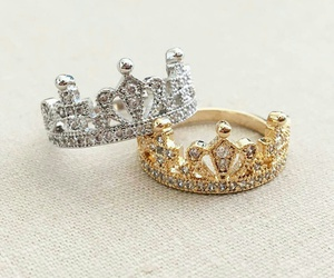 crown, rings, and gold image