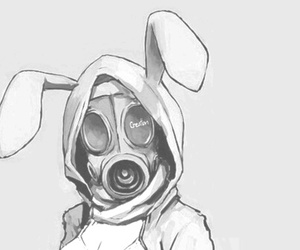 anime, bunny, and gas mask image