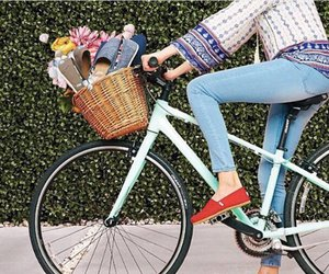 basket, skinny jeans, and bicycle image