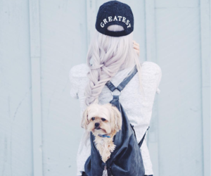 dog, girl, and style image