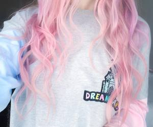 fashion, long hair, and pink image