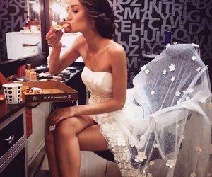 pizza, dress, and wedding image