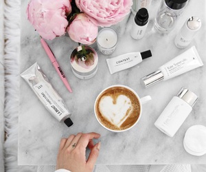 coffee, lifestyle, and peonies image