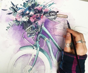 bikes, flowers, and hands image