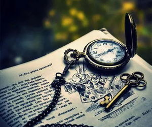 book, alice in wonderland, and clock image