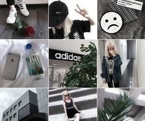 adidas, black and white, and city image