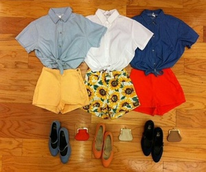 flats, outfits, and shorts image