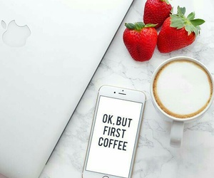 coffee, strawberry, and iphone image
