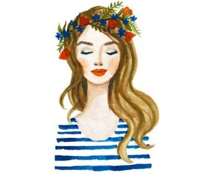 girl, watercolor, and flower crown image