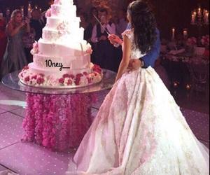 wedding, cake, and dress image