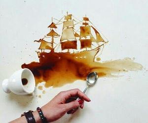 art, coffee, and ship image