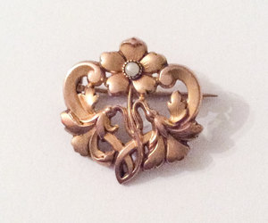etsy, flower brooch, and pearl brooch image