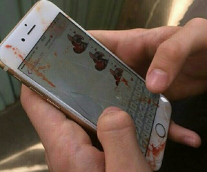 blood, iphone, and broken image