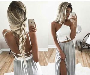 hair, dress, and braid image