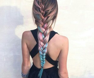 blue, braid, and dye image
