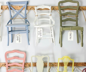 home decor, wooden chairs, and painted chairs image
