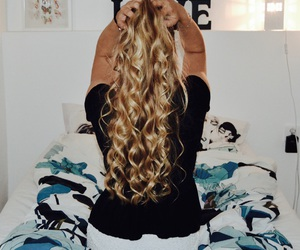 blonde, curlyhair, and hair image