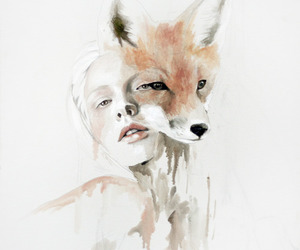 fox, art, and woman image