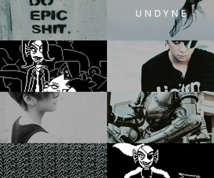 black, grey, and undertale image