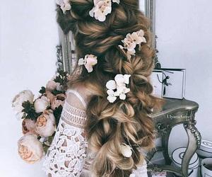braids, longhair, and flowers image