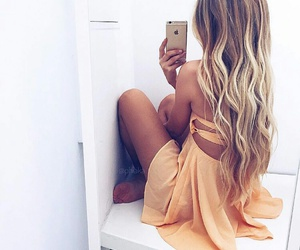 hair, dress, and blonde image