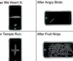 funny, fruit ninja, and angry birds image