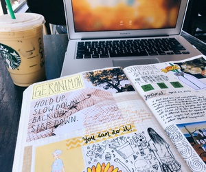 productivity, study, and starbucks image
