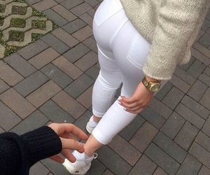 ass, white jeans, and fashion image