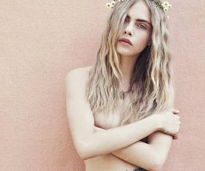 model, cara delevingne, and flowers image
