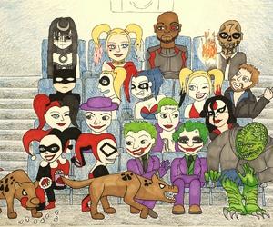 batman, draw, and harley quinn image